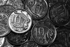 Small Change. Australian 10 cent pieces. Australian Currency Royalty Free Stock Photography