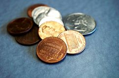 Small change in American coins Royalty Free Stock Photo