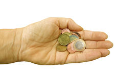 Small change Euros. Womans hand with Euro coins, assorted denominations. Isolated Royalty Free Stock Photography