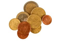 Small change - Euros, isolated over white Royalty Free Stock Photography
