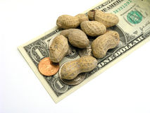 Small Change Peanuts. Peanuts and small change on dollar bill Stock Image