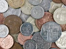 Small change, UK pounds sterling, background. Closeup of UK coins. For background.  No Queen's heads showing Stock Images