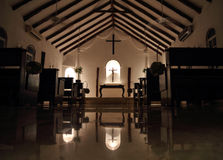 Small Chapel At Night - Interior Royalty Free Stock Photos