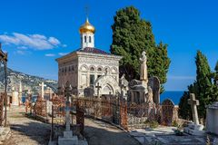 Small chapel on cemetery in Menton, France. Royalty Free Stock Image