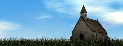 Small chapel - 3D render Royalty Free Stock Photo