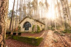 Small chapel in forest at Vizzavona in Corsica Royalty Free Stock Photo