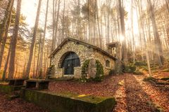 Small chapel in forest at Vizzavona in Corsica Stock Images