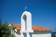 Small chapel in Greece. Whitewashed small chapel in Samothrace, Greece, Europe Royalty Free Stock Images