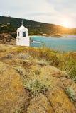 Small chapel in Greece. Small chapel in Greek coast Stock Photo