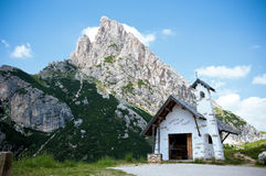Small Chapel In Dolomites Near Cortina Royalty Free Stock Images
