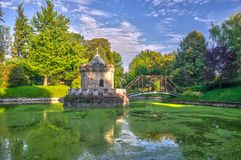 Small chapel and lake near the Castle of Bojnice stock image