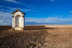 A small chapel in the middle of fields Royalty Free Stock Image