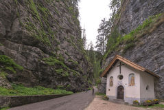 Small chapel in the mountain gorge Stock Images