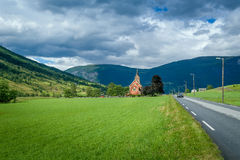 Small chapel in Norway fields Royalty Free Stock Images
