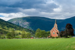 Small chapel in Norway fields Royalty Free Stock Photo