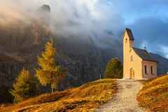 Small chapel, Passo Gardena, Italy Stock Photo