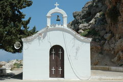 Small Chapel in Rhodes. White chapel cross rhodes greece bell Stock Photography