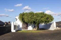 Small  chapel in rural area of La Geria in Lanzarote Royalty Free Stock Photo