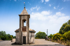Small chapel in Sicily on a north road to the majestic volcano E Royalty Free Stock Photo