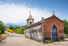 Small chapel in Sicily on a north road to the majestic volcano E Royalty Free Stock Photos