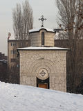 Small chapel with snow on public square in Sofia, Bulgaria Stock Photography