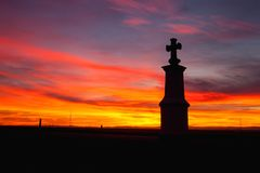 Small chapel at sunset.Central Bohemian Upland, Czech Republic. Small chapel at sunset. Sunset in Central Bohemian Upland, Czech Republic stock images