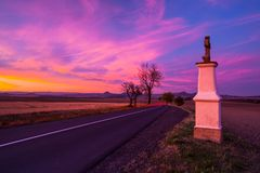 Small chapel at sunset.Central Bohemian Upland, Czech Republic. Small chapel at sunset. Sunset in Central Bohemian Upland, Czech Republic royalty free stock photo