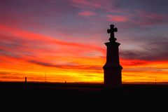 Small chapel at sunset.Central Bohemian Upland, Czech Republic. Small chapel at sunset. Sunset in Central Bohemian Upland, Czech Republic royalty free stock image