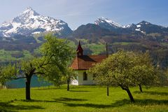 Small chapel on the Walensee. Switzerland Royalty Free Stock Photos