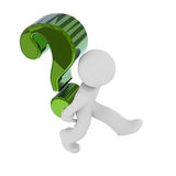 Small character with a big Question mark, 3d render. Small character carry  a big green Question mark, 3d rendering Stock Photos