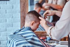 Small charming boy is getting trendy haircut from expirienced barber at fashionable hairdressing salon.  stock images