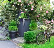 Small charming garden gate. Small charming rose garden gate royalty free stock image