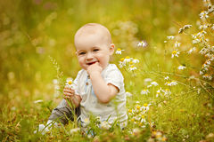 Small charming toddler boy light t-shirt sits in a field with da Stock Photo