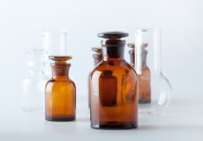 Small chemical glass bottles Royalty Free Stock Photo