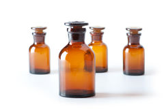 Small chemical glass bottles Royalty Free Stock Images