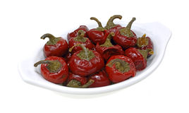 Small Cherry Peppers Dish Angle View Stock Photos