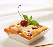 Small cherry sponge cake Stock Image