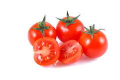 Small cherry tomato. Over white background Royalty Free Stock Images