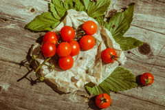 Small cherry tomatoes on wooden table Stock Photo