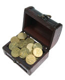 Small chest with gold coins. On white background royalty free stock image