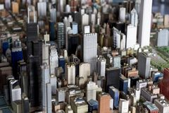 Small Chicago. Model of a downtown Chicago. Skyscrapers in focus Royalty Free Stock Photo
