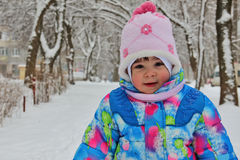 Small child against winter snow landscape Royalty Free Stock Photo