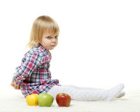Small child with apples. Stock Photo