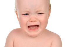 Small child baby girl toddler sad crying isolated Royalty Free Stock Photos
