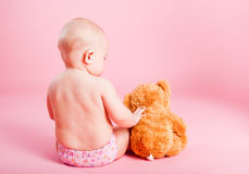 The small child with a bear cub Royalty Free Stock Photography