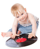 The small child with a black gramophone record. Isolated on white background Stock Images