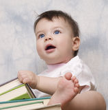 The small child with books Royalty Free Stock Photography