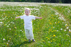 Small child the boy plays on a summer meadow Royalty Free Stock Images
