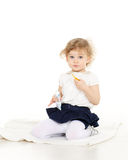 Small child brushes teeth Royalty Free Stock Photography