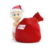 Small child in a cap santa, santa sack Stock Image